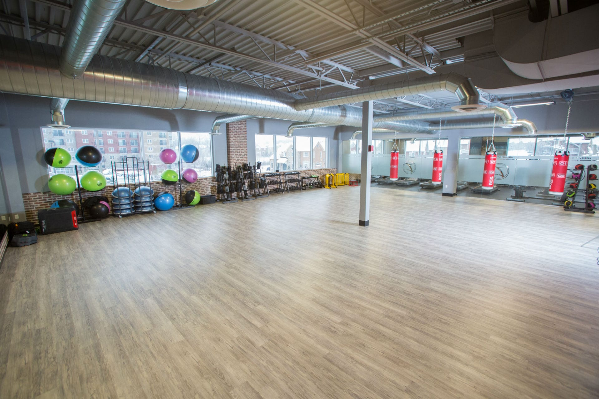 industrial modern gym studio with fitness equipment