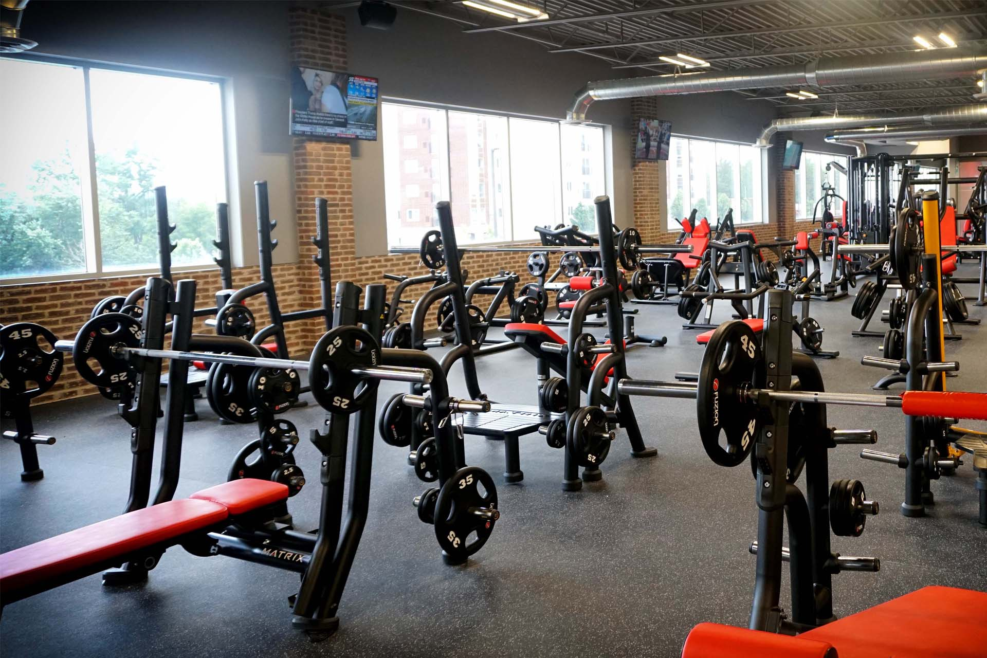 weight lifting area with exercise machines